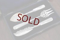 純銀製(925) 白蝶貝ハンドル ジャムスプーン、バターナイフ、トーストフォークセット