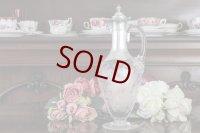 純銀製(925)1874年 Martin, Hall & Co.  エッチング グラス クラレットジャグ/ウォータージャグ