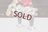 純銀製(925)1909年 透かし細工お花の打ち出し パープルグラス花瓶 2点セット