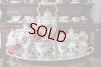 純銀製(925)1866/7年 特級 リボンとお花のガーランド ティーケトル、ティー、コーヒー5点セット