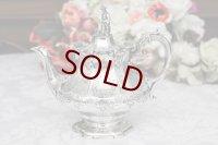 純銀製(925)1846年 バーナード制作 スクロールとお花のエングレービング バチェラーサイズティーポット