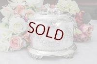 シルバープレート製 リボンとお花のガーランド 手彫り彫刻 ビスケットボックス