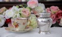 純銀製(925) 1881年 インポート 薔薇とお花のガーランド ティーキャディー