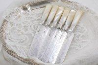 純銀製(925)1897年 白蝶貝ハンドル お花と葉模様のガーランド彫刻 ティーナイフ6本セット