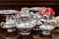 純銀製(925) 1900年前後 アメリカ製ロココスタイル お花とスクロール ティー4点セット