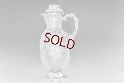 画像1: 純銀製(925)1901年 特級 ウェッブスタイル インタリオ エングレービング クリスタルグラス クラレットジャグ