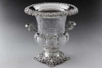 純銀製(925)1901年 特級 ウェッブスタイル インタリオ エングレービング クリスタルグラス シャンパン クーラー