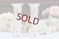 純銀製(925)1892年 Atkin Brothers リボンガーランドの 花瓶 ペアセット