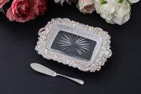純銀製(925)1898年 ロココ調 打ち出し彫刻 カットグラス バターディッシュ