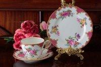 エインズレイ 1930-40年代 薔薇とお花のティーカップトリオセット