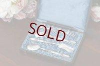 アンティークシルバー、フランス製 ロココスタイル 純銀(950) サービングカトラリー4点セット
