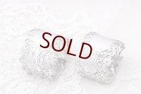 アンティークシルバー 、純銀製(925) 1899年 美透かし細工  ナプキンリング2組セット