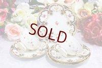 アンティーク陶磁器 コールポート 総手描き 薔薇とスクロール、金彩 ペア ティーカップトリオセット