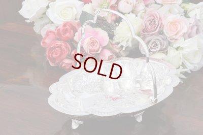 画像4: アンティークシルバー ヴィクトリアン シルバープレート 美彫 薔薇お花とスクロール、ケーキバスケット