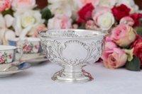 アンティークシルバー、純銀製(925)1909年 ヴィクトリアンロココ スモール ローズボウル