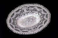 アンティークシルバー、アンティーク銀器、純銀製(925)フラワーバスケット、薔薇とお花のガーランド ロココスタイル ボンボンディッシュ