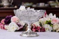 アンティークシルバー、アンティーク銀器、 純銀製 薔薇とお花のガーランド 透かし細工 ロココスタイル コンポート