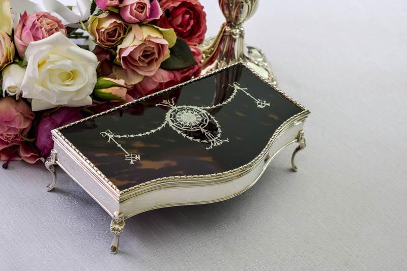 画像1: 純銀製(925) 1911年 べっこう 純銀象嵌細工 ジュエリーボックス