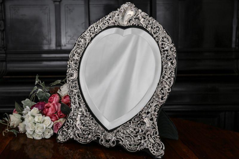 画像1: 純銀製(925) 1898年 ロココスタイル エンジェル、お花 ハートシェイプ スタンドミラー