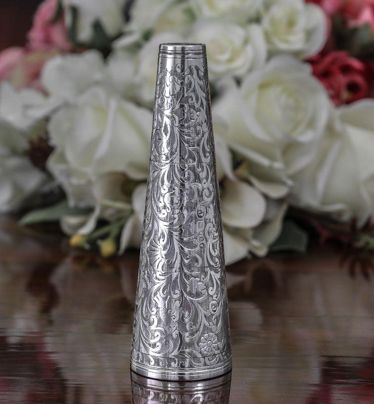 画像1: 純銀製(925)レア 貴族の携帯ピクニック/旅行用 コンディメント セット