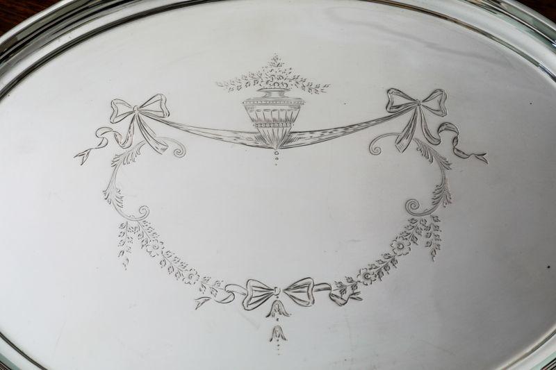 画像4: 純銀製(925)リボンガーランドのドレッシングテーブルトレイ