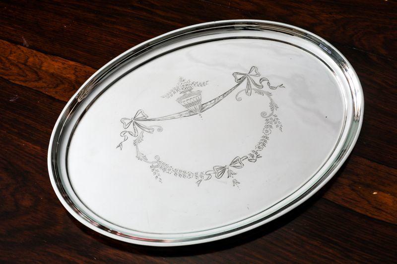 画像1: 純銀製(925)リボンガーランドのドレッシングテーブルトレイ