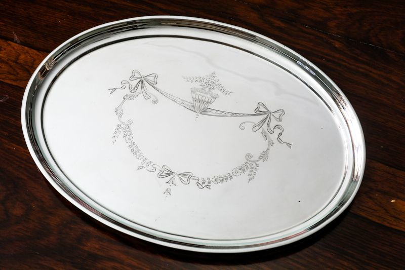 画像2: 純銀製(925)リボンガーランドのドレッシングテーブルトレイ