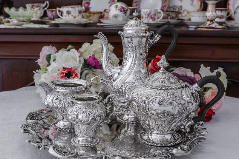 画像1: アンティークシルバー、純銀製(925) 1905年 特級 ヴィクトリアンロココスタイル ティー3点セット