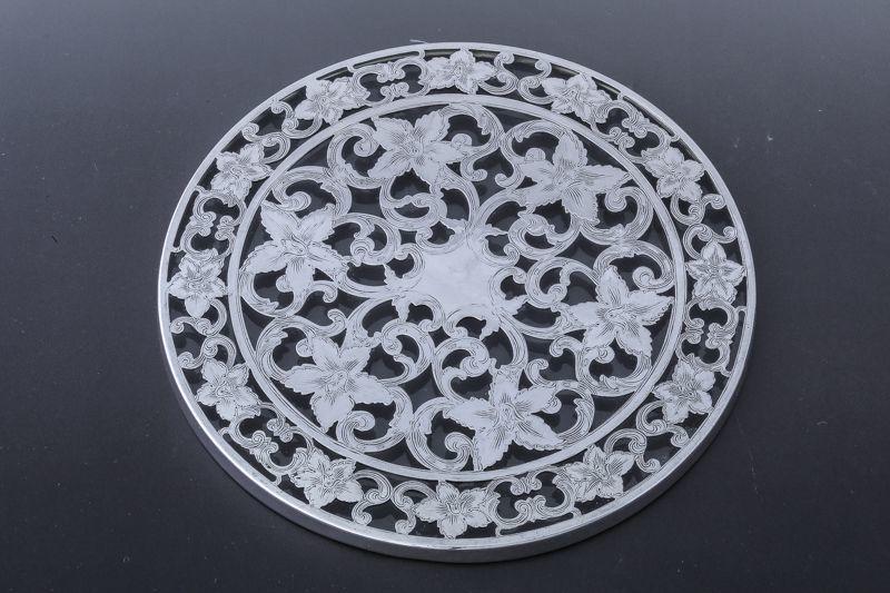 画像1: 純銀製(925) 純銀とグラス ヴィンテージ 透かし細工ティーポットスタンド