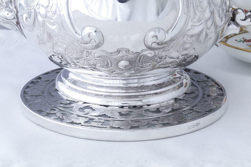 画像5: 純銀製(925) 純銀とグラス ヴィンテージ 透かし細工ティーポットスタンド