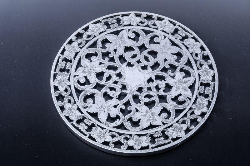 画像3: 純銀製(925) 純銀とグラス ヴィンテージ 透かし細工ティーポットスタンド