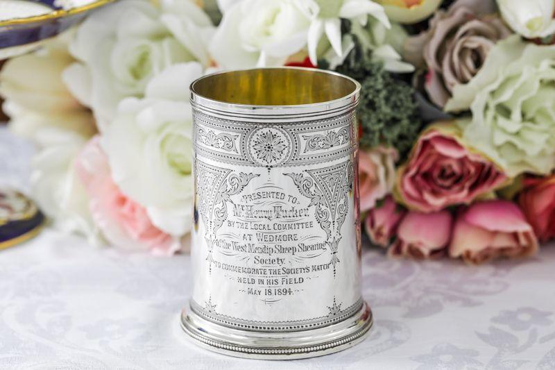 画像3: 純銀製(925)1889年 ハンドエングレービング ビール用 マグカップ