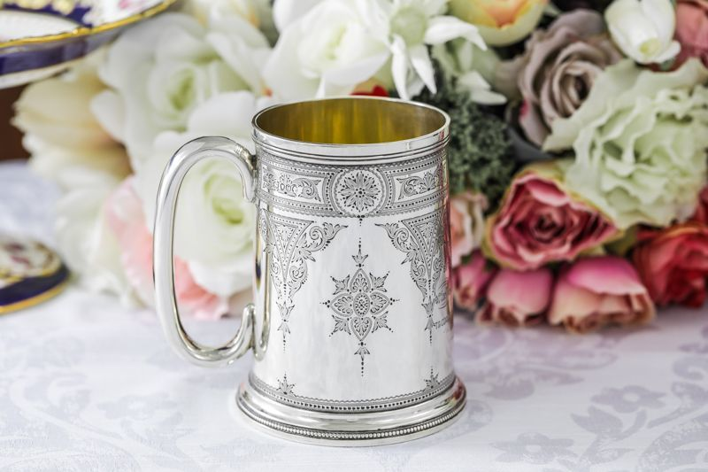 画像4: 純銀製(925)1889年 ハンドエングレービング ビール用 マグカップ