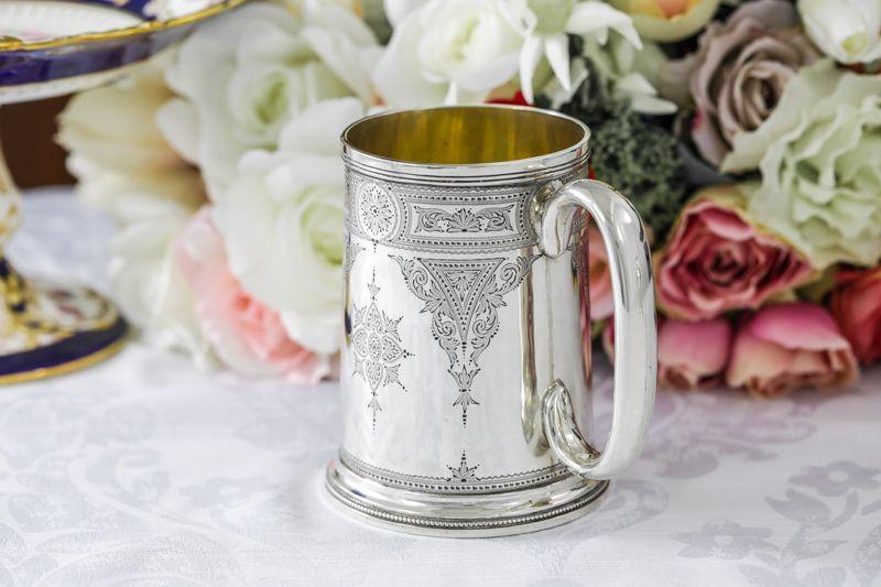 画像2: 純銀製(925)1889年 ハンドエングレービング ビール用 マグカップ