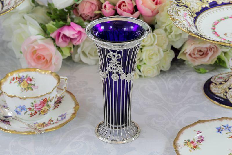 画像1: 純銀製(925)1904年 エルキントン リボンとお花のガーランド装飾 花瓶