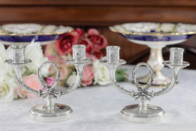 画像1: 純銀製(950) フランス製 ファーストミネルヴァ ペア 薔薇のガーランド キャンデラ―ブラー