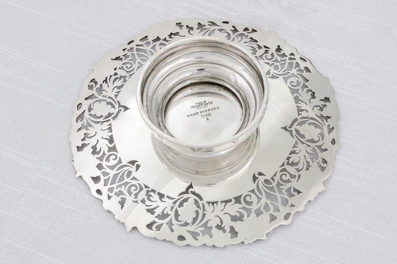 画像5: 純銀製(925) 1948年 葡萄と葉、スクロールの透かし細工ボンボンディッシュ/ミニコンポ―ト