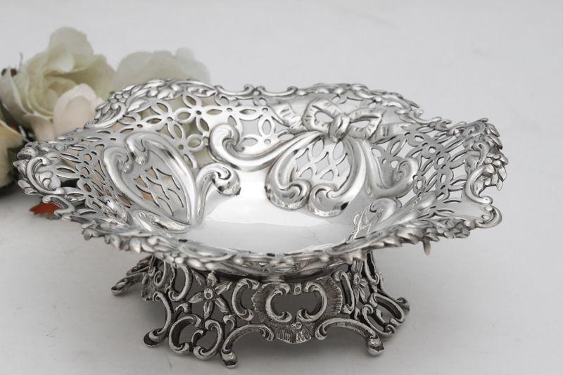 画像5: 純銀製(925)1895年 リボンの透かし細工ボンボンディッシュ