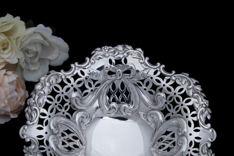 画像3: 純銀製(925)1895年 リボンの透かし細工ボンボンディッシュ