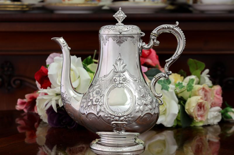 画像1: 純銀製(925) アンティークシルバー 1860年 ヴィクトリアンロココスタイル コーヒーポット