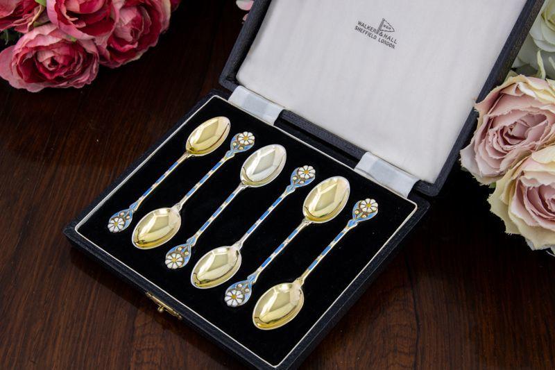 画像1: 純銀製(925)ヴィンテージシルバー 1953年お花のエナメル 金鍍金 スプーン6本セット