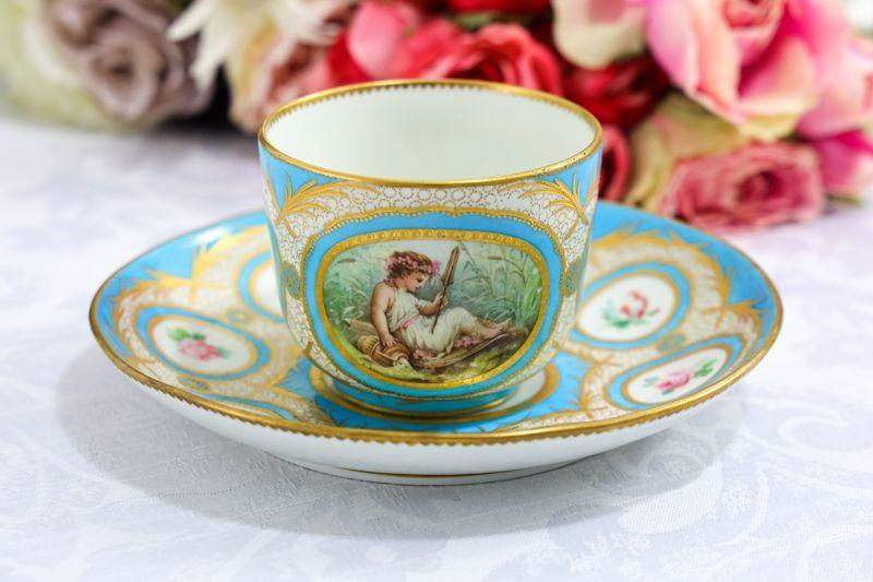 画像1: アンティーク陶磁器 C.1835年 特級 フランス パリ窯 Jacquel  矢を持つ少女と花 キャビネットカップ&ソーサー