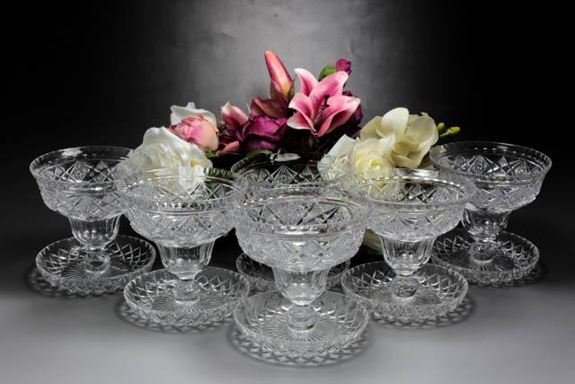 画像1: アンティーククリスタルグラス c.1930 ハンドカット アイスクリームグラス 2客セット