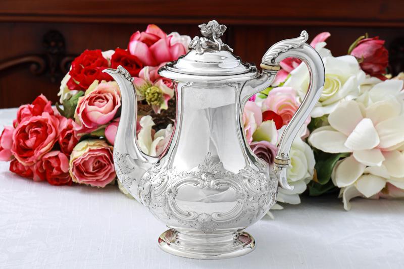 画像1: 純銀製(925) アンティークシルバー 1853年 ヴィクトリアンロココスタイル コーヒーポット