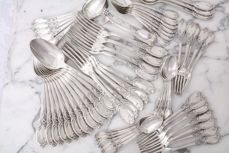 画像1: アンティークシルバー、c.1890 フランス製 純銀製ファーストミネルヴァ ディナーカトラリー85ピースセット
