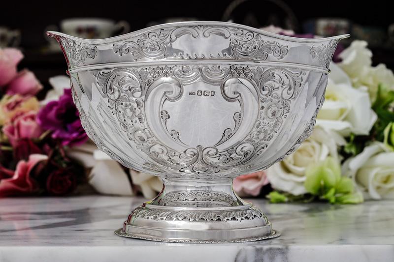 アンティークシルバー、純銀製(925)1898年 薔薇とお花 ローズボウル