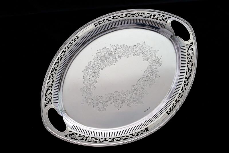 画像1: アンティークシルバー、純銀製(925)1898年 スクロールの透かし細工とエングレービング トレイ