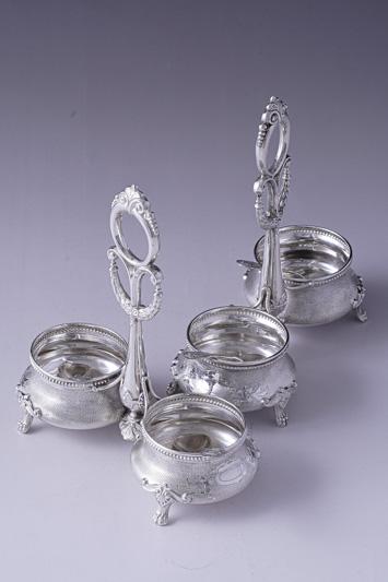 画像1: アンティークシルバー、純銀(800&950)フランス ルイ16世様式 ソルト&ペッパー