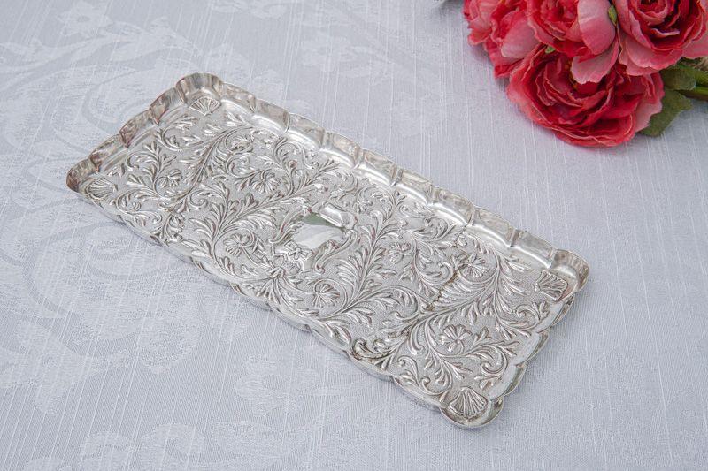 画像4: アンティークシルバー、純銀製(925)  1904年 マッピン&ウェッブ リボン、お花と葉模様彫刻  ヴァニティートレイ